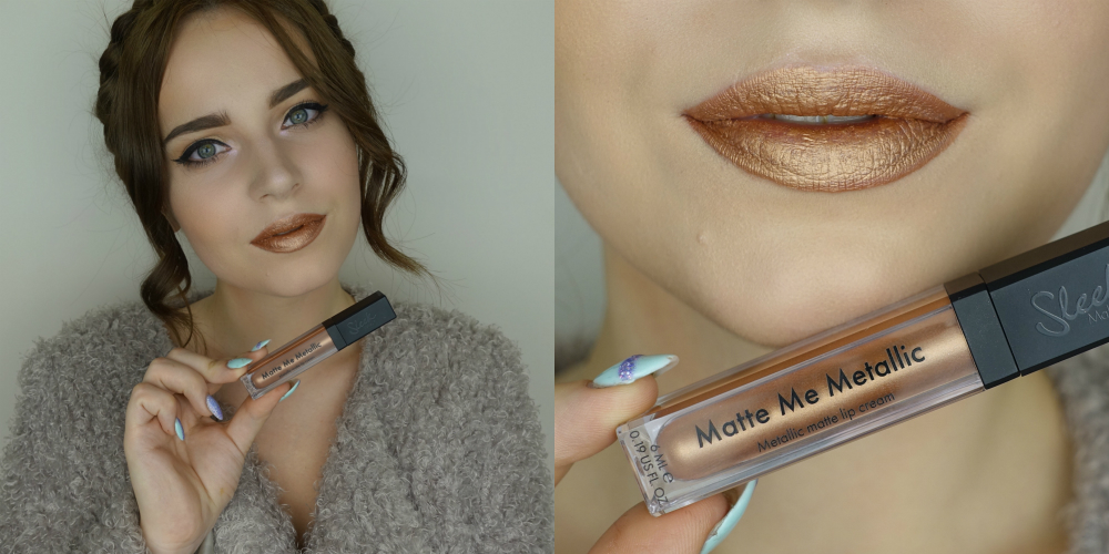 фото помады от Sleek Makeup Matte Me Metallic Roman Copper на губах